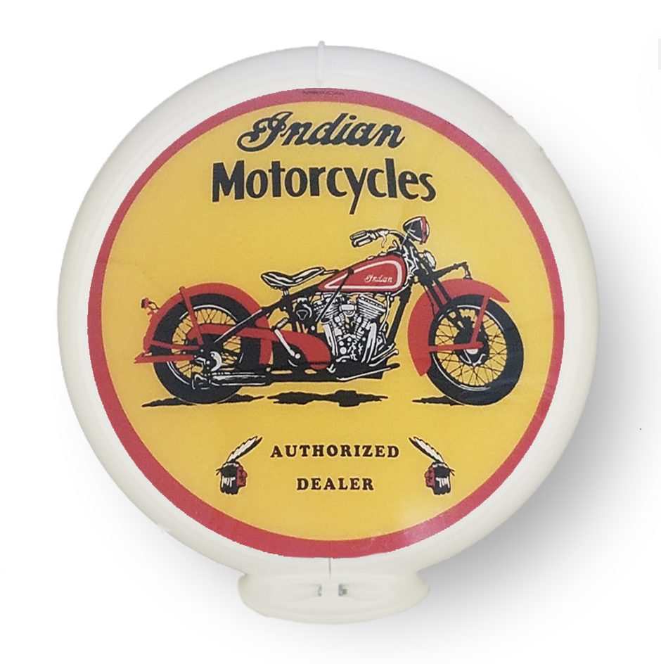 """Indian Motorcycle 13.5/"""" Gas Pump Globe w// Red Plastic Body G144"""
